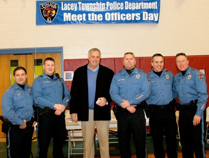 Mayor Quinn with Chief Paprota, Lt DiBella, Lt Kenny, Lt Ganley and DLt. Cornelius at Meet-the-Officers Day 2014