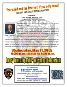 Social Media Presentation Flier - Mill Pond School - May 11 2016